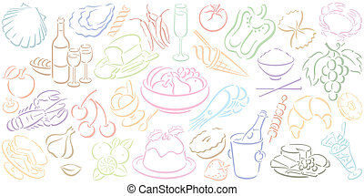 cibo, simboli, fondo