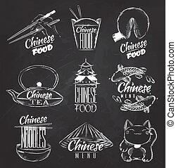 cibo, simboli, gesso, cinese