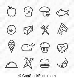 cibo, simbolo, linea, icona