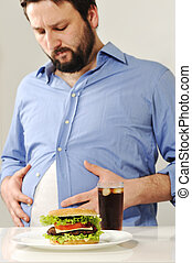 cibo spazzatura, circa, grasso, preoccupazioni, digiuno, uomo