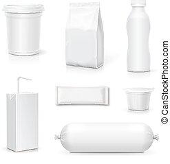 cibo spuntino, set., bevanda, imballaggio, realistico, vettore, prodotti, sagoma, vuoto, pacco