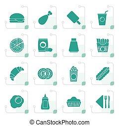 cibo, stilizzato, bevanda, digiuno, icone