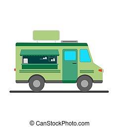 cibo, strada, camion, vettore