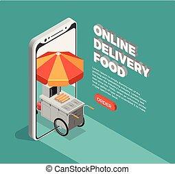 cibo strada, consegna, concetto