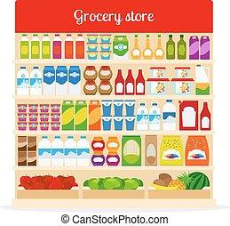 cibo, supermercato, mensole