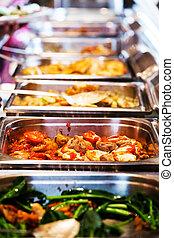 cibo tailandia, buffet.