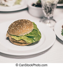 cibo, tavola, altro, hamburger, digiuno