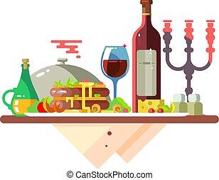 cibo, tavola, cena, ristorante