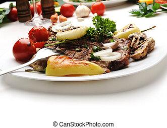 cibo, tavola, decorato, delizioso, apparecchiato