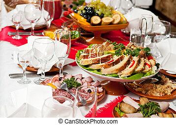 cibo, tavola, decorazione, set, ristorazione