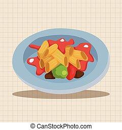cibo, tema, elementi, italiano