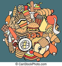 cibo, tema, set