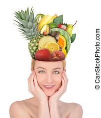 cibo, testa, donna, frutta