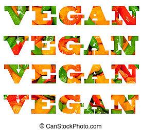 cibo, testo, fatto, verdura, vegan