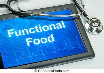 cibo, testo, funzionale, tavoletta, mostra