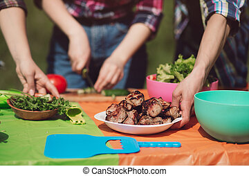 cibo, top., tavola picnic