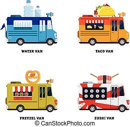 cibo, van., strada, illustrazione, isolato, vettore, disegno, fastfood, appartamento, delivery.