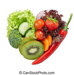 cibo, vegetariano, amore