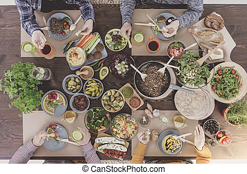 cibo, vegetariano, brunch
