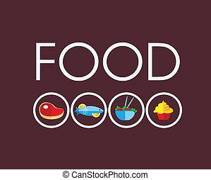 cibo, vegetariano, carne, icone