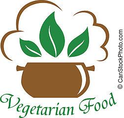 cibo, vegetariano, icona
