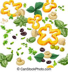 cibo, vegetariano, ornamento, seamless