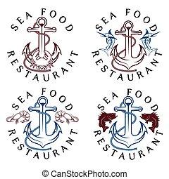 cibo, vendemmia, etichette, set, mare