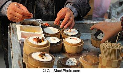 cibo, venditore strada, cinese