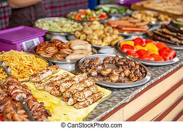 cibo, venditore strada, vista