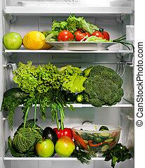 cibo, verde, frigorifero