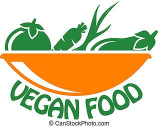 cibo, verdura, vegan, icona