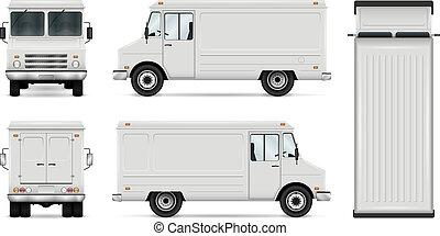 cibo, vettore, camion, sagoma