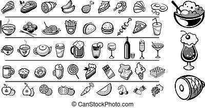 cibo, vettore, collezione, icone