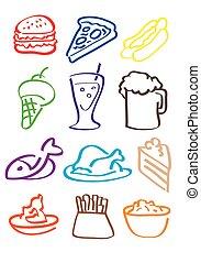 cibo, vettore, illustrazione, icone