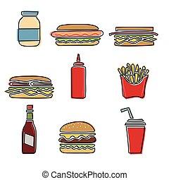 cibo, vettore, set, digiuno