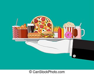 cibo, waiter., vassoio, digiuno, mano