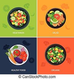 cibo, web, bandiera, appartamento, design., vegetariano, cibo organico, cibo sano