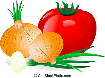cibule, a, rajče