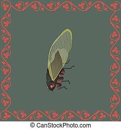 Cicada color illustration in medieval floral frame. Vector.