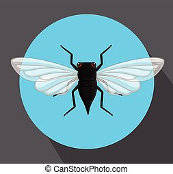 Cicada Flying Insect Vector Illustration