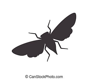 Cicada Moth Insect Silhouette Vector Illustration