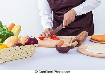 cicatrizarse, chef, mano, cocina
