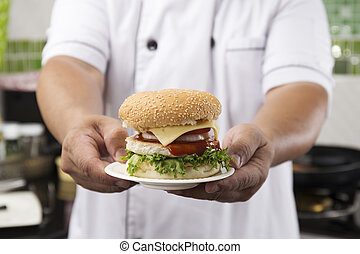 cicatrizarse, chef, presentado, hamburguesa
