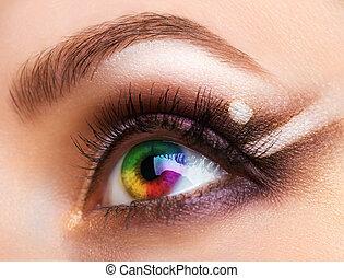 cicatrizarse, colorido, ojo humano, con, maquillaje