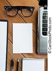 cicatrizarse, de, blanco, papel, y, artículos de escritorio