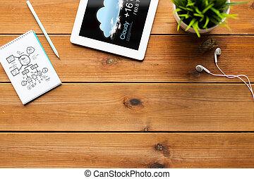 cicatrizarse, de, computadora personal tableta, con, pronóstico meteorológico
