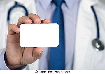 cicatrizarse, de, doctors, mano, actuación, blanco, tarjeta comercial