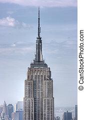 cicatrizarse, de, edificio del estado del imperio, ciudad...