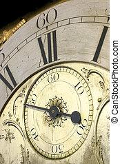 cicatrizarse, de, el, cara, de, un, antigüedad, aduelo, clock.
