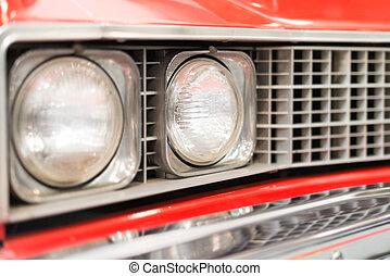 cicatrizarse, de, faro, de, rojo, coche clásico